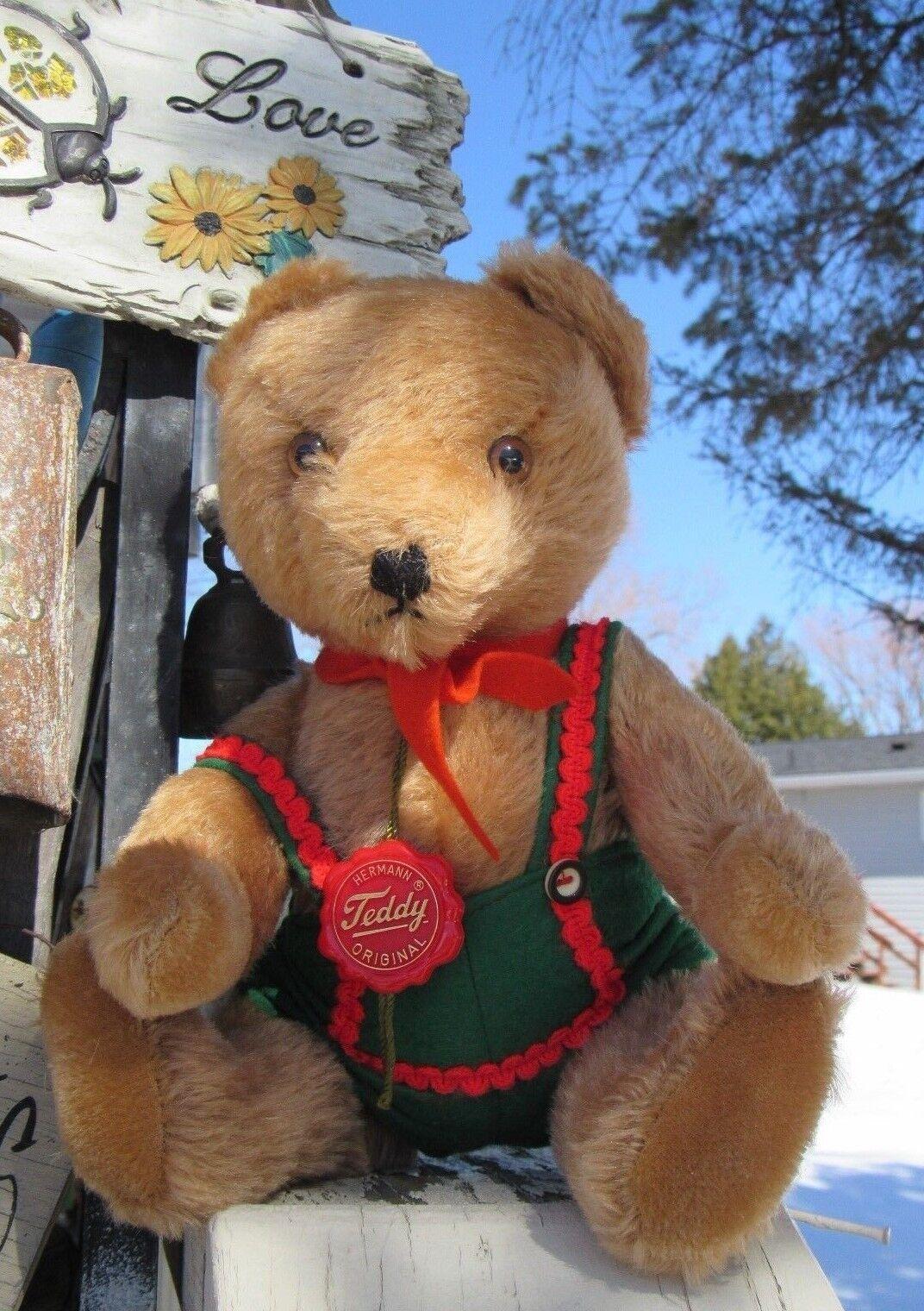 VINTAGE MINTY 13  HERMANN ORIGINAL TEDDY MOHAIR GERMANY GROWLING BOY BEAR W  TAG