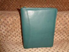 Vtg Franklin Quest Covey Usa Green Nappa Leather Compact Sz Zipper Close Planner