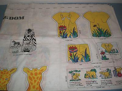 Jungle Kingdom Panel Lion Tiger Zebra Rhino Giraffe Elephants Books or Applique