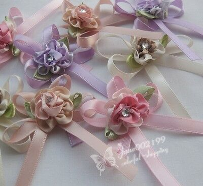 E201 satin ribbon flowers bow w/leaf stone wedding sewing appliques DIY 20/100pc