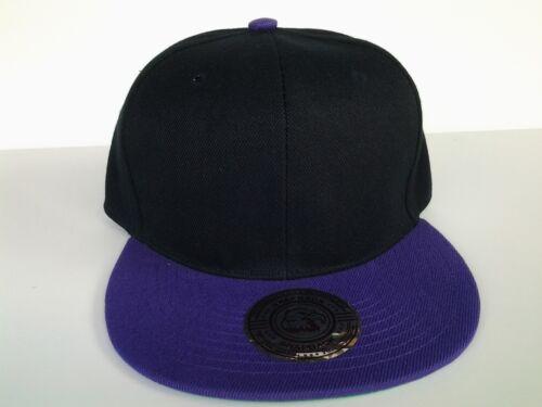 Green Underbill Hat Two Tone Black Purple Blank Plain Snapback Flat Bill