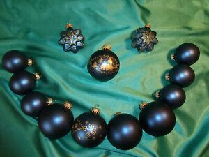 Konvolut-Christbaumschmuck-Glas11-Weihnachtskugeln-2-Sterne-blau-gold-CBS