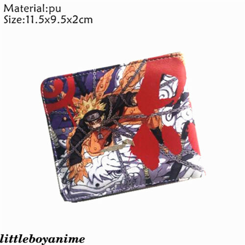 Naruto0 Tokyo Ghoul Bifold Wallet PU Card Holder Layers Coins Purse Boys Girls