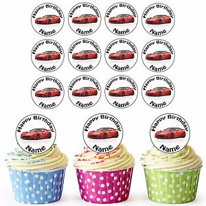 PRECUT Cars Blue Audi A4 Edible Cupcake Toppers Decorations Boys Mens Birthday