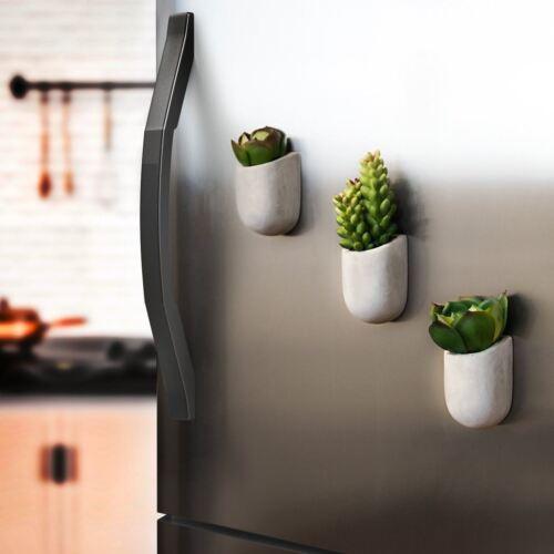 Set of 3 Concrete Magnetic Planter Pot Fridge Indoor Kitchen Succulents Cactus