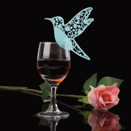 50Pcs Name Place Cards For Wedding Party Table Wine Glass Decor  P0sa