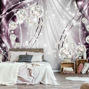 Vlies Fototapete 3d Abstrakt Kunst Diamant Lila Optik Schlafzimmer Xxl Tapete 56 Ebay