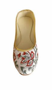 Women-Shoes-Indian-Traditional-White-Ballerinas-Flat-Jutties-UK-3-5-EU-36