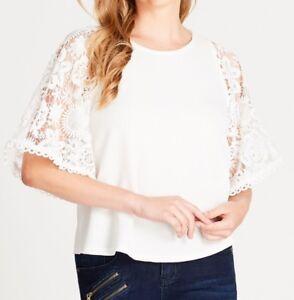 Crossroads-Elegant-Off-White-Crochet-Sleeve-Top-Size-12-Free-Post