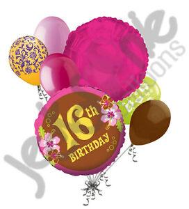 Image Is Loading 7 Pc Aloha Sweet 16 Happy Birthday Balloon