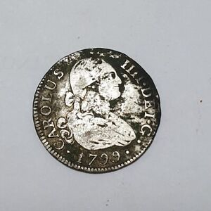 MADRID-1799-MF-2-REALES-CHARLES-IIII-2R-SILVER-COIN-COLONIAL-DOLLAR-5-51g-RR-VF
