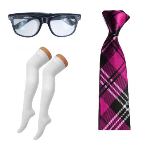 Geek Nerd Occhiali Overknee Calzini /& Tie Costume Kit School Girl