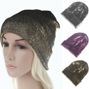 Women Men Unisex Metallic Winter Hats Autumn Warm Crochet Wool Knit ... 9a37cac0984