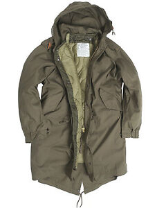 US Army Olive Drab M51 Fishtail Winter Shell Hooded Parka Jacket ... 21f15a2b956