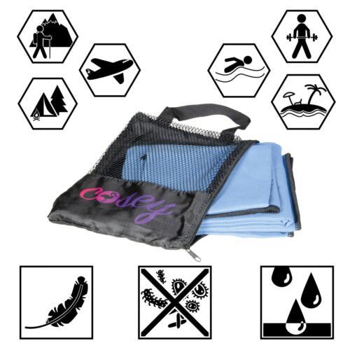 cosey Trekking Camping 2er-Set Mikrofaser Reise-//Sporthandtuch Badetuch blau