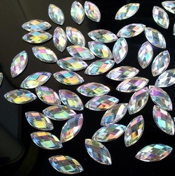 100pcs 9x20mm Clear AB Sew On Acrylic Crystal Rhinestone Navette Shape Flatback