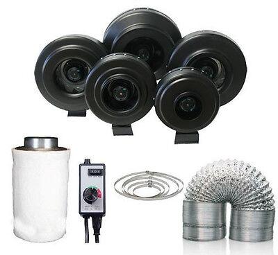 "4"" 6"" 8"" Sub Zero Inline Fan BLACK - Carbon Filter - Speed Controller - Ducting"