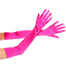 Long Opera Length Satin Stretch Gloves Black Hot Pink Purple Red or White  ML452