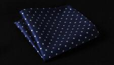 HD2009B Blue Polka Dot Men 100% Silk Satin Handkerchief Pocket Square Hanky