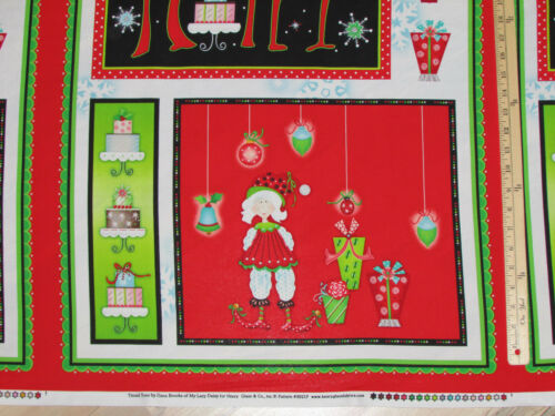 """Tinsel Toes Merry Christmas Elf Henry Glass Fabric Panel 23/""""    #9921P"""