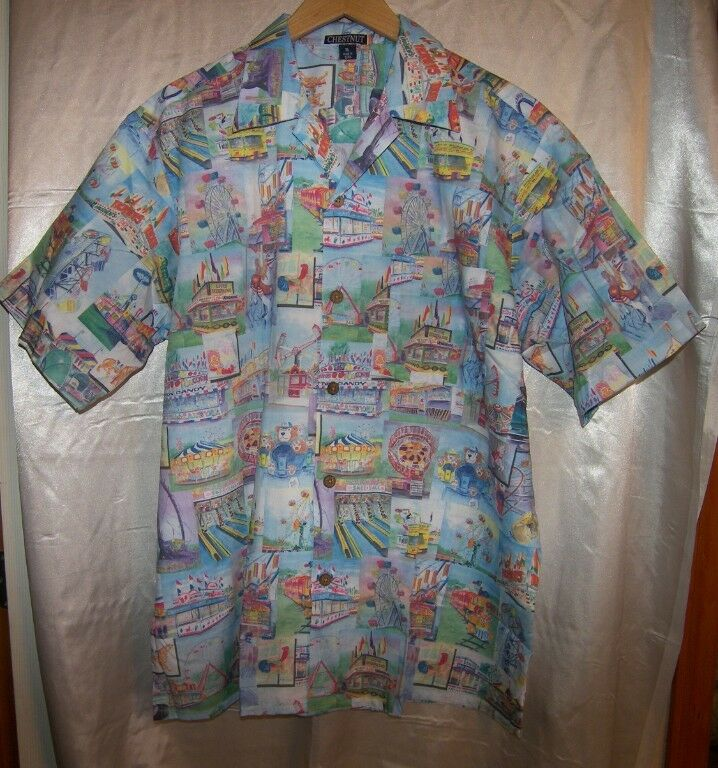 Sue Nichols Amusement Park State Fair Rides Carousel Print Aloha Camp Shirt XL