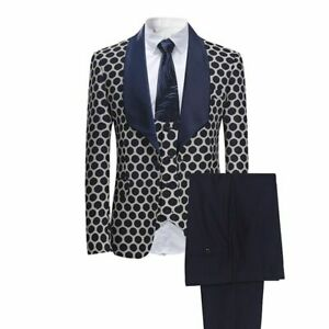 Men-039-s-Suits-Set-Classic-Polka-Business-Casual-Slim-Fit-Stylish-Event-Clothes-New