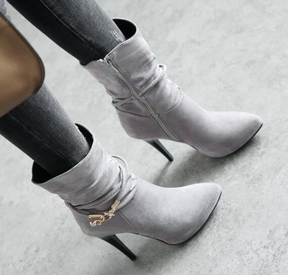 Women Ankle Boots Pointed Toe High Heels Pumps Zip shoes Plus Size Retro Pull ON
