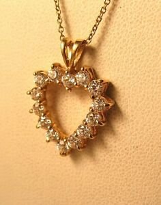 .70CT CZ Cubic Zirconia Open Heart Pendant 14K Yellow Gold Vintage