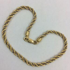 Image Is Loading 14k Two Tone Yellow And White Gold Rope