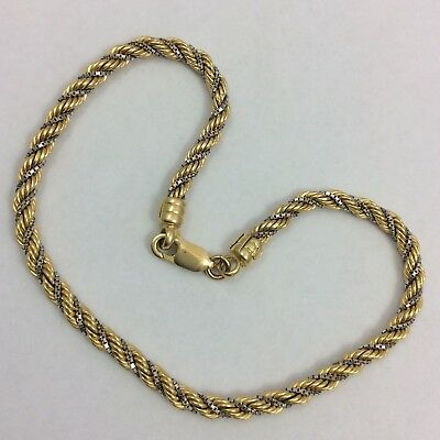 14k Two Tone Yellow And White Gold Rope Bracelet Ebay