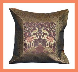 Pair-2-of-Silk-Brocade-Elephant-Peacock-Pillow-Cover-Brown-Color-from-India