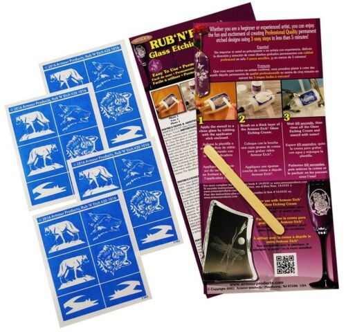 Armour Products Rub /'n/' Etch Glass Etching Stencil Set ~ Wolf  Wolves 4 Pack