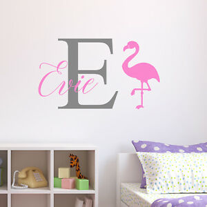Personalised Flamingo Wall Sticker Wall Decal Childrens Kids Nursery ...