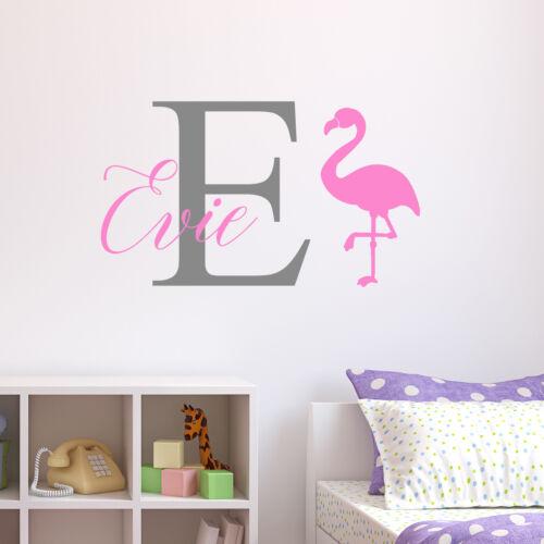 Personalised Flamingo Wall Sticker Wall Decal Childrens Kids Nursery Bedroom