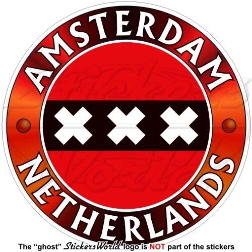 "Sticker AMSTERDAM Bandiera PAESI BASSI Olanda Olandese Adesivo Vinile 100mm 4/"""