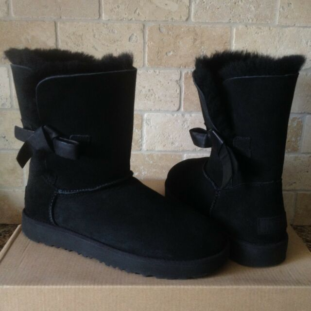 d0f46a2b926 UGG Classic Knot Bow Short Black Suede Sheepskin Winter Boots Size US 10  Womens
