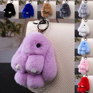 33af5a8c836 Fluffy Big Faux Fur Bunny Rabbit Keyring Bag Decor Pendant Keychain ...