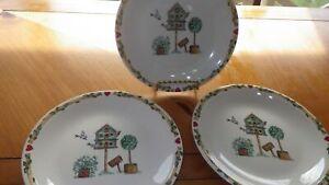 "Thomson Pottery Birdhouse Salad Plates Dessert plates 37"" EUC Country Kitchen"