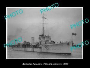OLD-LARGE-HISTORIC-PHOTO-OF-AUSTRALIAN-NAVY-SHIP-HMAS-SUCCESS-c1950