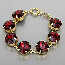 Gold Clear Ruby Red Stone Designer Inspired Simple Chain Trendy Bracelet