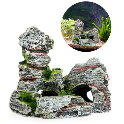 Aquarium Mountain View Rock Cave Tree Bridge Fish Tank Ornament Decoration Decor