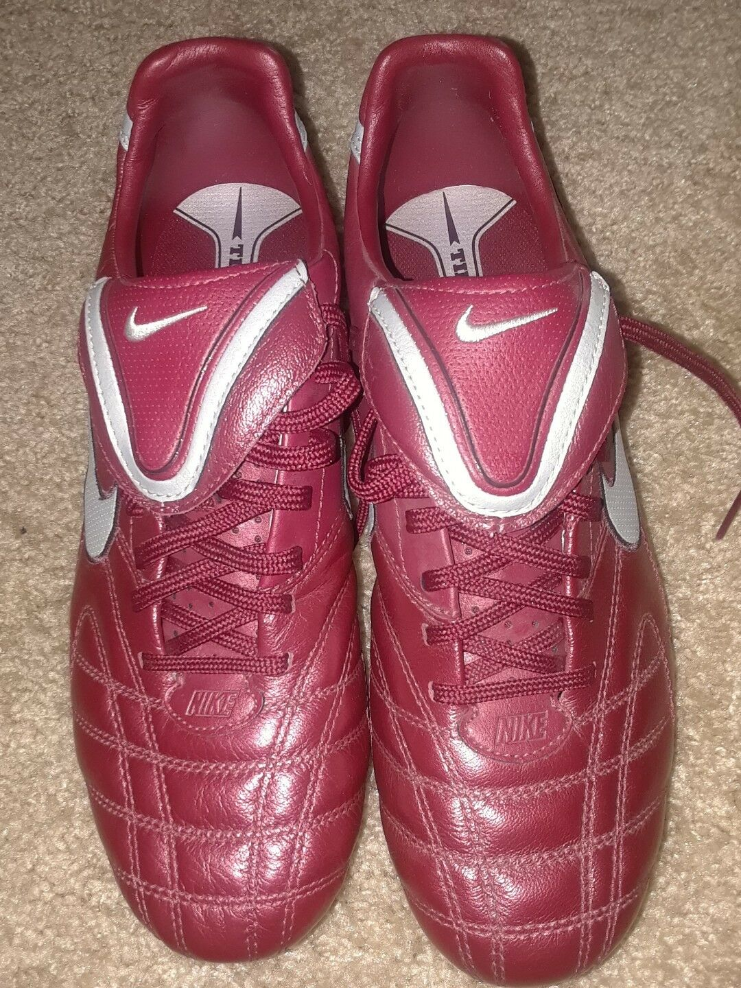 Men's Nike Cleats TIEMPO MYSTIC III FG 9 Burgundy