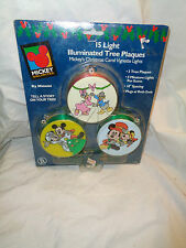 Vintage Mickey's Christmas Carol Illuminated Tree Plaques Lights Disney
