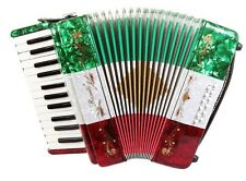 Rossetti 25 Keys 12 Bass Buttons 2512 Piano Accordion - Red White Green + Case