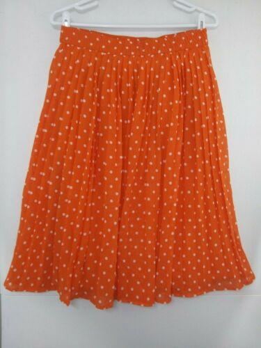 Orange Polka Dot Pleated Halloween Skirt NWT Compania Fantastica Womens Small S