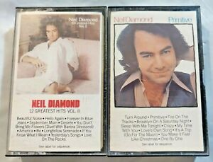 Lot 2 NEIL DIAMOND Cassette Tapes-Primitive 1984 & 12 Greatest Hits Vol. II 1982