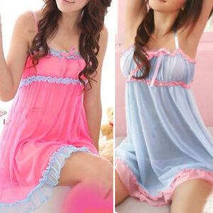 Women-Lace-Dress-Sexy-Lingerie-Babydoll-Sleepwear-Underwear-Nightwear-G-String