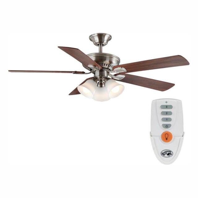 Hampton Bay Ceiling Fan Light 52 Inch Led Indoor Remote Control Brushed Nickel