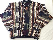 Tundra Cosby Sweater Biggie Smalls Large Vintage 3d textured Multicolored Coogie