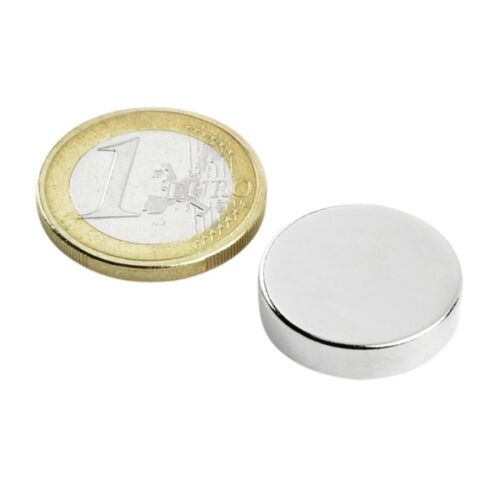 Rundmagnet Ø 20x 5mm hält 6,1kg Nickel 5 x Scheibenmagnet Neodym N42
